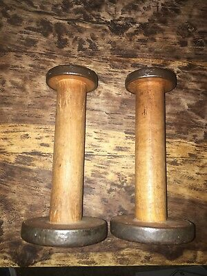 Set Of 2 Antique Wooden Spools. Outer Rim In Metal. 8 Inches Tall.