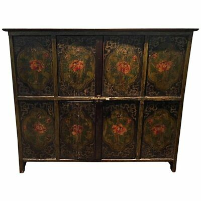 19th Century Tibetan Hand-Painted Lotus Cabinet