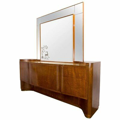 Italian Modernist Sideboard Buffet and Mirror by Vittorio Dassi