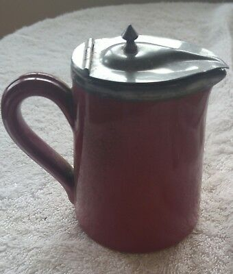Antique creamer nice old pottery pcs fixed metal lid nice antique piece