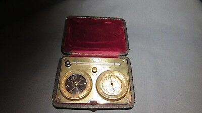 LATE 19th CENTURY CASED TRAVELLING BAROMETER/THERMOMETER & COMPASS