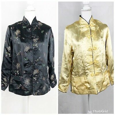 Smithsonian Institution Women's Medium Black Gold Reversible Asian Jacket