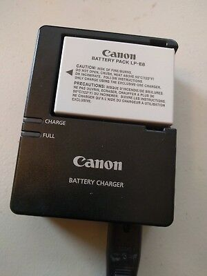 Genuine Canon lp-e8 battery pack and Canon lc-e8e battery charger