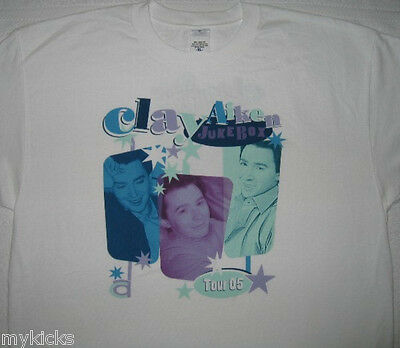 New! CLAY AIKEN Jukebox Tour 2005 White T -  Shirt - XL