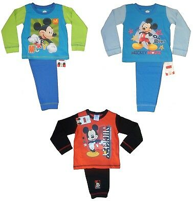 Boys CHARACTER Disney MICKEY MOUSE Long PYJAMA SET Nightwear 100% Cotton