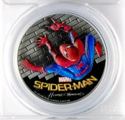 "2017 Cook Islands ""SpiderMan Homecoming"" 1oz .999 Silver Coin PCGS PR69DCAM FD"
