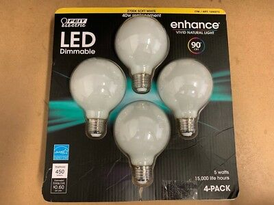 Feit LED Dimmable  Globe 4 pack. 40w Replacement, 450 Lumens (Only Uses 5W)