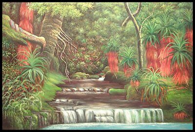 "36""x24"" Oil Painting on Canvas, Tropical Stream, Genuine Hand Painted"