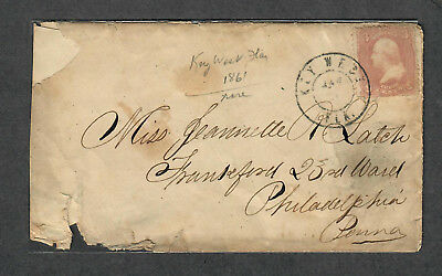 Key West FL Civil War Small Double Circle Scarce PM 1861 Cover Union Occupation