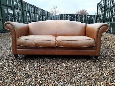 Large Laura Ashley 2 Seater Tan Leather Chesterfield Gloucester Sofa