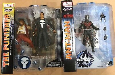 Marvel Select Lot Of 2 New Action Figures - Punisher & Ant-Man