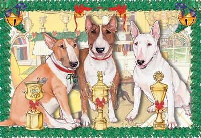 Bull Terrier Christmas Card 5 x 7 with envelope