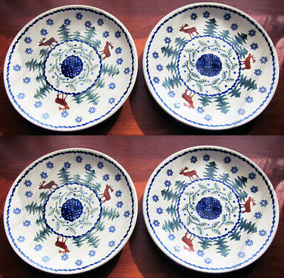 "Boleslawiec Polish Pottery  Salad Plate SET of 4, 7""  Christmas tree MOOSE NEW"
