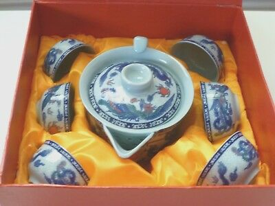Vintage Blue Dragon Miniature Porcelain Japanese Tea Pot and 6 Cups Set In Box