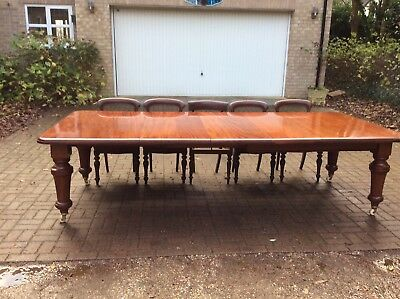 Large Antique Victorian 3 Leaf, Wind-Out, Cuban Mahogany Extending Dining Table,