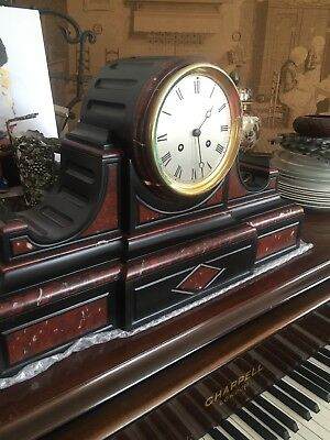 Antique French Marble mantle clock of impressive size and quality