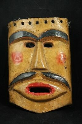 Wood Hanging Mask Mexican Folk Art Hand Crafted/Painted Collectible Signed Man