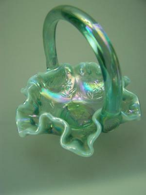 Aqua carnival opalescent glass basket with bear and floral decoration