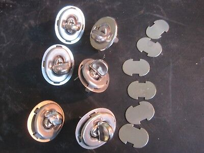 12 off Vintage brass nickel plated turn twist Locks Fastener for Leather/fabrics