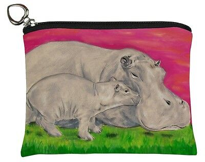 Hippo Change Purse, Coin Purse - From my Original Oil Painting, Communal Clan