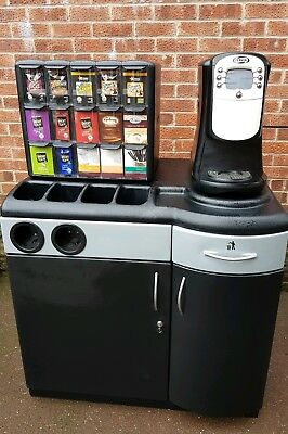 Flavia 400 Hot Drinks Coffee Vending Machine cabinet and storage unit