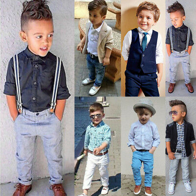 Kids Baby Boys Gentleman Suit Coat Tops Shirt Pants Trousers Outfit Clothes Sets