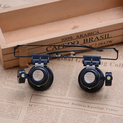 Head Helmet Reading Magnifier Glass Loupe with LED Light Jewelry Watchmaker^