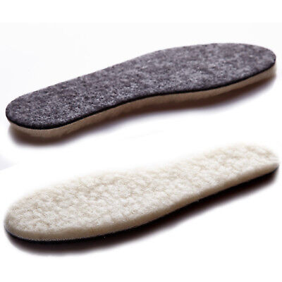 Wool Sheepskin Insoles Thick Fluffy Inner Soles Shoes Boots Inserts Warm Winter