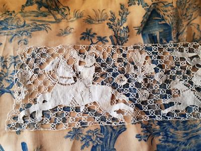 Stunning Exquisite Antique French Bobbin Lace Panel,La Chasse /The Hunt c.1890's