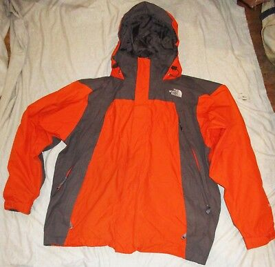 Preowned THE NORTH FACE 100% Nylon With Gore Tex Orange/Gray Hooded Jacket XL