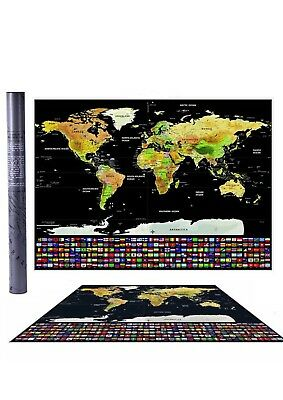 *NEW*UK States and Country Flags Poster Travel Tracker Big Scratch Off World Map
