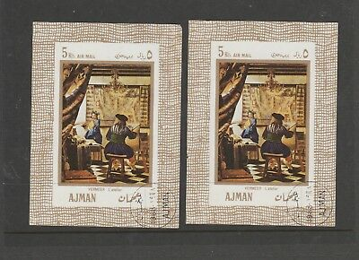 2 Sheetlets  of Stamps from Ajman. Value 5 Rls. each. Used. See Photo.