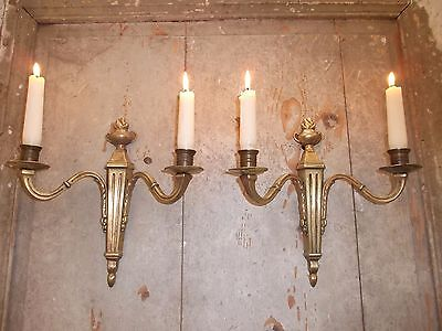 French a pair of gold patina bronze wall candle holders classic vintage