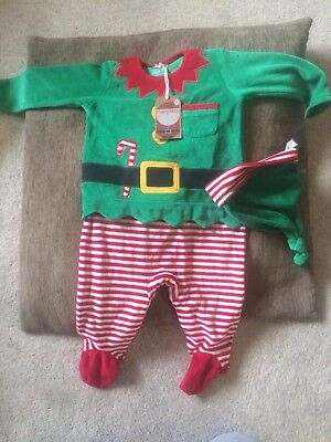6586772a7 Next Baby Christmas Elf Sleepsuit & hat Boy Girl 3-6 Months New with Tags