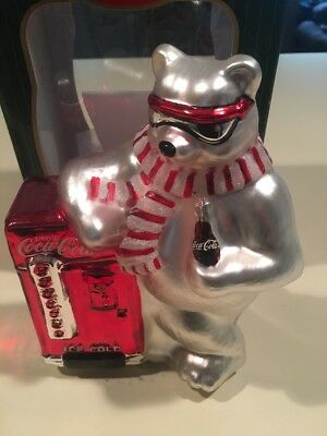 Coca Cola Mercury Glass Table Top Polar Bear Figurine