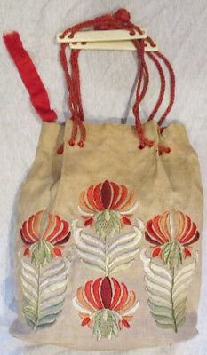 Arts & Crafts Movement Mission Style Hand Made Linen Bag Silk Multicolor Designs