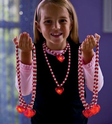Light-Up Heart Necklaces, Set of 10