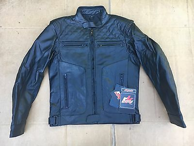 """RKS Mens Classic Leather Motorcycle Motorbike Jacket UK 38"""" to 39"""" chest   H26"""