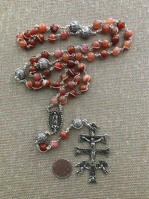 Rare FIRE AGATE 10MM Sterling unbreakable rosary - original Joseph Dion creation