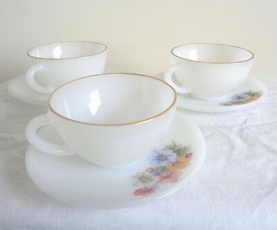 3 Vintage French Cups & Saucers Opaque Glass Flowers Shabby Chic Dining Craft