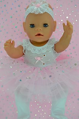 "Play n Wear Doll Clothes For 17"" Baby Born PINK SEQUIN TU TU~TIGHTS~HEADBAND"
