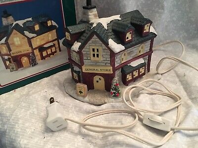 1991 General Store porcelain building village Christmas Valley 1991 box cord has