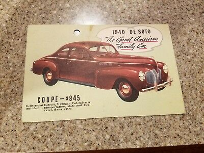 1940 Desoto coupe postcard