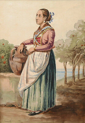 Watercolour italian drawing gouache neapolitan woman Sorrento costume Italian