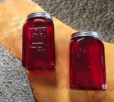 New Ruby Red Glass Salt And Pepper Shakers Embossed Large Depression Style Retro