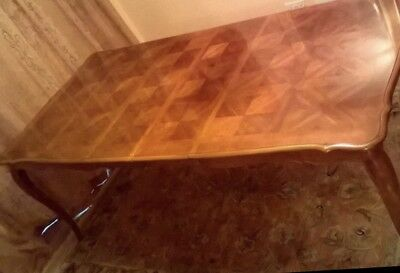 FRENCH LOUIS ANTIQUE STYLE EXTENDING PARQUET DINING TABLE - Beautiful!