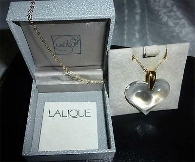 "Pendant  Crystal Large  Heart Necklace & 18"" Gold  Chain Stunning  -Investment"
