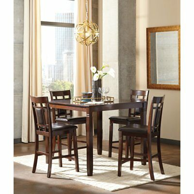Signature Design by Ashley Bennox 5 Piece Counter Height Dining Table Set, Warm