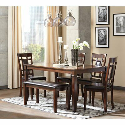 Signature Design by Ashley Bennox 6 Piece Dining Table Set, Warm Brown, Medium