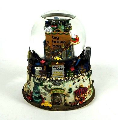 Bloomingdales Big Brown Bag NYC Central Park Twin Towers Music Snow Globe Lights